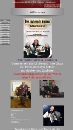 Vorschau der mobilen Webseite www.der-zaubernde-musiker.de, Weidenbruch, Burkhard