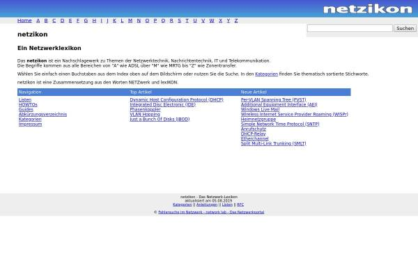 Vorschau von www.netzikon.net, Netzikon - Netzwerklexikon