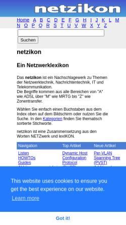 Vorschau der mobilen Webseite www.netzikon.net, Netzikon - Netzwerklexikon