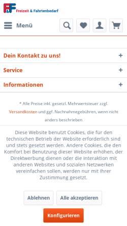 Vorschau der mobilen Webseite www.fahrtenbedarf.de, Freizeit- und Fahrtenbedarf GmbH