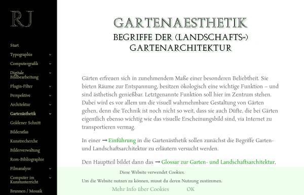 Vorschau von www.janaszek.de, Glossar zur Garten- und Landschaftsarchitektur
