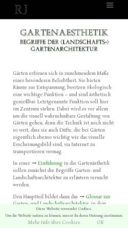 Vorschau der mobilen Webseite www.janaszek.de, Glossar zur Garten- und Landschaftsarchitektur