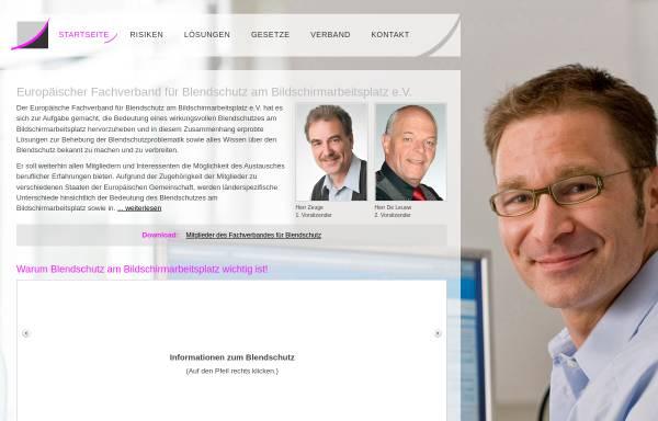 Vorschau von www.effb.org, Europäischer Fachverband für Blendschutz am Bildschirmarbeitsplatz e.V.