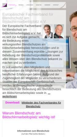 Vorschau der mobilen Webseite www.effb.org, Europäischer Fachverband für Blendschutz am Bildschirmarbeitsplatz e.V.