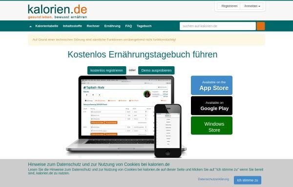Vorschau von www.kalorien.de, Kalorien.de
