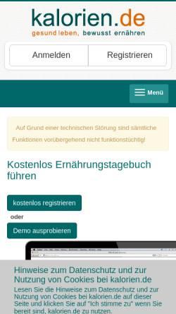 Vorschau der mobilen Webseite www.kalorien.de, Kalorien.de