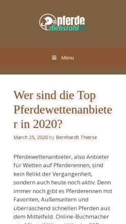 Vorschau der mobilen Webseite www.pferdediebstahl.de, Pferdediebstahl.de