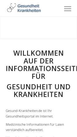 Vorschau der mobilen Webseite www.gesundheit-krankheiten.de, Gesundheit - Krankheiten - Informationen