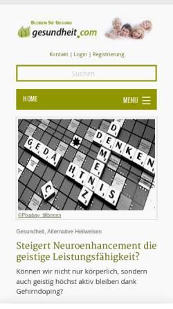 Vorschau der mobilen Webseite www.gesundheit.com, Gesundheit.com