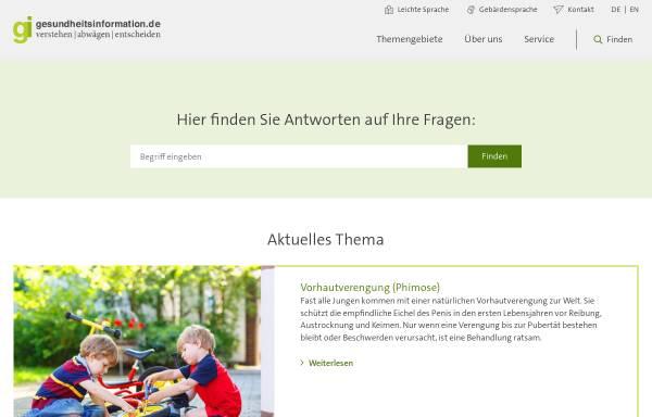 Vorschau von www.gesundheitsinformation.de, Gesundheitsinformation.de