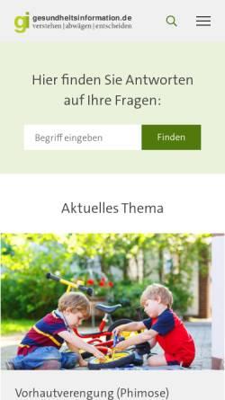 Vorschau der mobilen Webseite www.gesundheitsinformation.de, Gesundheitsinformation.de