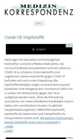 Vorschau der mobilen Webseite www.medizinkorrespondenz.de, Medizin Korrespondenz