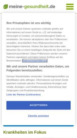 Vorschau der mobilen Webseite www.meine-gesundheit.de, Meine Gesundheit