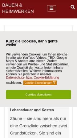 Vorschau der mobilen Webseite www.bauen-und-heimwerken.de, Bauen und Heimwerken