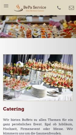 Vorschau der mobilen Webseite www.bepa-service.de, Betriebsversorgungs- und Partyservice GmbH