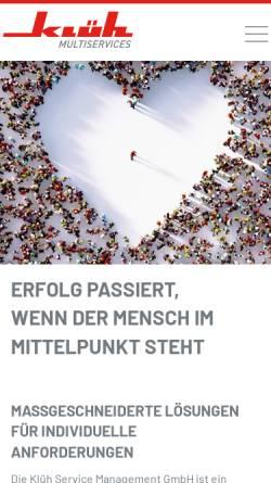 Vorschau der mobilen Webseite www.klueh.de, Klüh Service Management GmbH