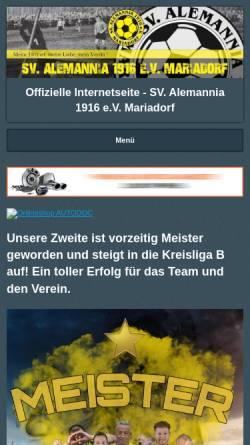 Vorschau der mobilen Webseite www.alemannia-mariadorf.de, SV Alemannia Mariadorf 1916 e.V.
