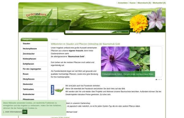 Vorschau von www.gardenandmore.de, Gardenandmore - Baumschule Gold