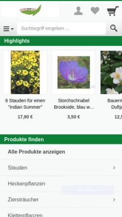 Vorschau der mobilen Webseite www.gardenandmore.de, Gardenandmore - Baumschule Gold