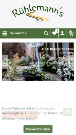 Vorschau der mobilen Webseite www.kraeuter-und-duftpflanzen.de, Gärtnerei Rühlemanns Kräuter & Duftpflanzen