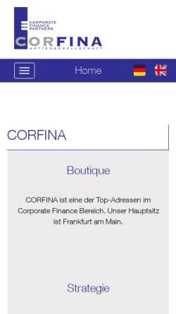 Vorschau der mobilen Webseite corfina.de, Corfina AG