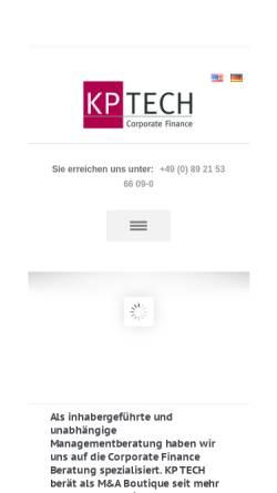 Vorschau der mobilen Webseite www.tech-corporatefinance.de, KP Tech Beratungsgesellschaft mbH