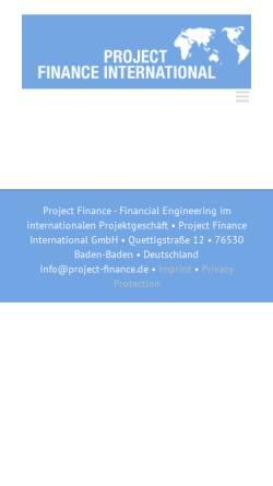 Vorschau der mobilen Webseite project-finance.de, PFI Project Finance International - Unternehmensberatung Dr. Joachim Richter