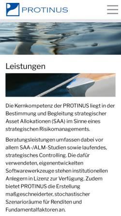 Vorschau der mobilen Webseite www.protinus.de, Protinus Beratungsgesellschaft GmbH & Co. KG
