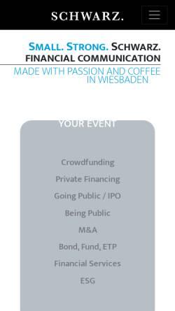 Vorschau der mobilen Webseite www.schwarzfinancial.com, Schwarz Financial Communication