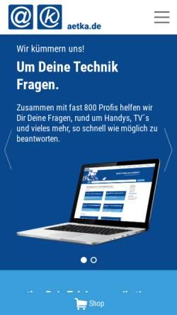 Vorschau der mobilen Webseite aetka.de, Aetka Communication Center AG