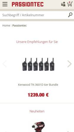 Vorschau der mobilen Webseite www.passiontec.de, Passiontec GmbH