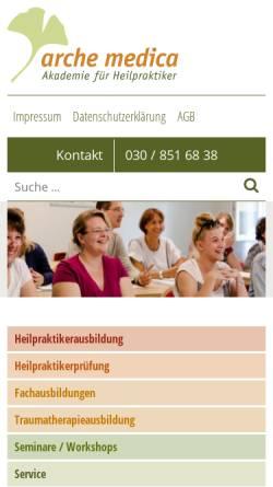 Vorschau der mobilen Webseite www.archemedica.de, Arche medica, Akademie für Heilpraktiker GbR