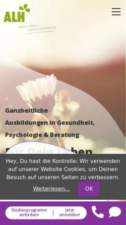 Vorschau der mobilen Webseite www.alh-akademie.de, ALH-Akademie