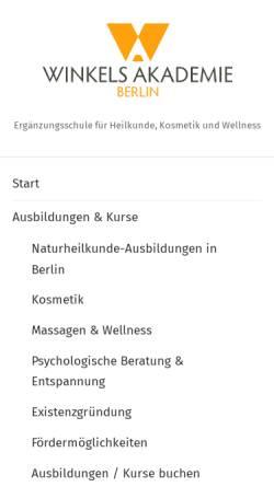 Vorschau der mobilen Webseite www.winkels-akademie.de, Winkels-Akademie