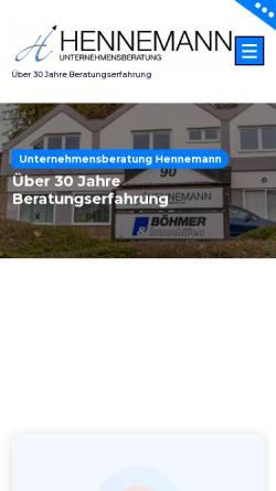 Vorschau der mobilen Webseite www.unternehmensberatung-hennemann.de, Dr. Andreas Hennemann - Unternehmensberatung