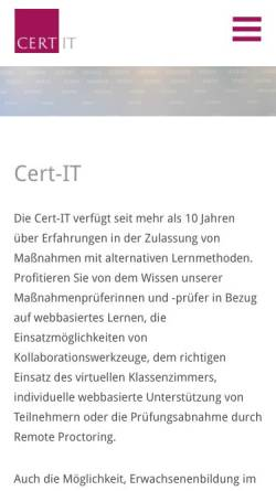 Vorschau der mobilen Webseite www.cert-it.com, Cert-IT GmbH