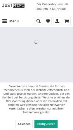 Vorschau der mobilen Webseite www.justhifi.de, Hifi am Fleth, Detlef Blaß