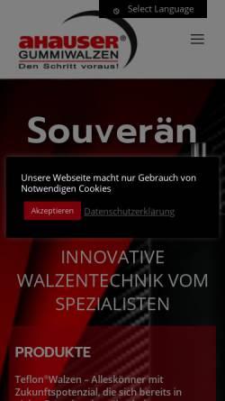 Vorschau der mobilen Webseite www.ahauser.com, Ahauser Gummiwalzen - Lammers GmbH & Co. KG