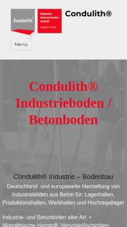 Vorschau der mobilen Webseite condulith-industrieboden.de, Condulith- Deutsche Industriebodentechnik GmbH