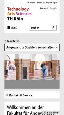 Vorschau der mobilen Webseite www.f01.fh-koeln.de, Fachhochschule Köln - Forschungsschwerpunkt Wirkung virtueller Welten