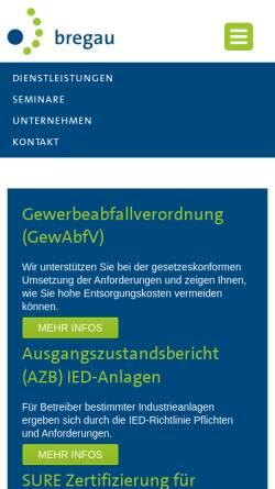 Vorschau der mobilen Webseite www.bregau.de, Bregau zert GmbH