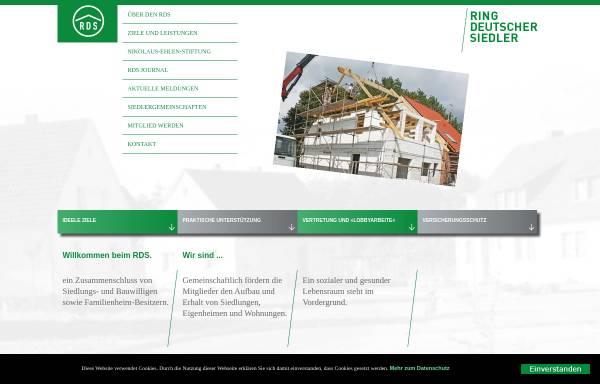 Vorschau von www.rdsev.de, Ring Deutscher Siedler (RDS) e.V.