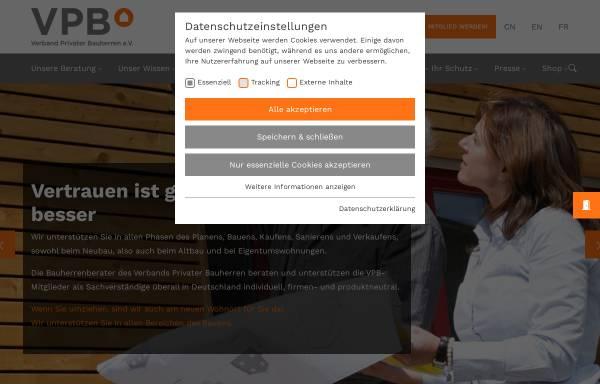 Vorschau von www.vpb.de, Verband Privater Bauherren e.V.