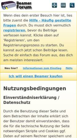 Vorschau der mobilen Webseite www.beamerforum.de, Beamer-Forum