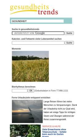 Vorschau der mobilen Webseite www.gesundheitstrends.de, Gesundheitstrends