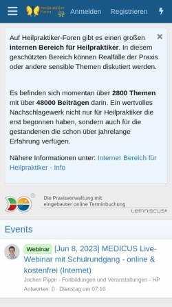 Vorschau der mobilen Webseite www.heilpraktiker-foren.de, Heilpraktiker-Foren