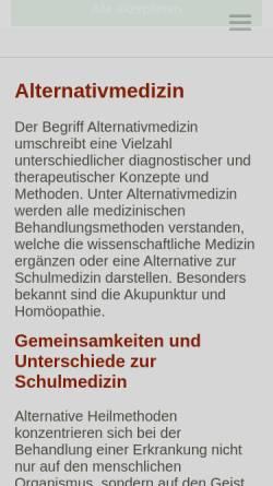 Vorschau der mobilen Webseite www.verzeichnis-alternativmedizin.de, Verzeichnis Alternativmedizin