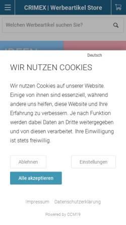 Vorschau der mobilen Webseite de.crimex.com, CRIMEX GmbH