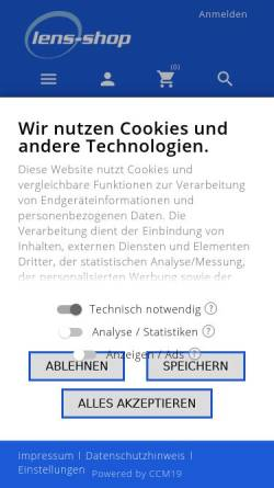 Vorschau der mobilen Webseite www.lens-shop.de, Lens-Shop GmbH