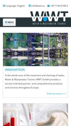Vorschau der mobilen Webseite www.wwtgmbh.de, Water & Wastewater Technic WWT GmbH